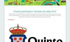 """Abierto el proceso participativo """"Nombres Calles Quinto 2016"""""""
