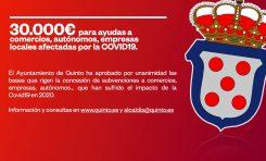 Quinto destina 30.000€ a sus empresas por la Covid19